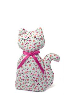 Cat doll stuffed animal White cotton with small Pink by shusha64