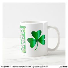 Mug with St Patrick's Day Crossword & Shamrocks  #stpatricksday st.patricks day #saints_patricksday saints patricks day treats #menswear saints patricks day outfits #shamrock st patricks day mug rugs #womensday st patricks day mugs #pillows st patricks day mug rugs free pattern #jewelry st patricks day mugs beer #mensfashion st patricks day mug coffee #womensfashion saints patricks day gift #tshirt mens hoodies #hat womens hoodies #mug #hoodie #leggins womens day #womensday zazzle product