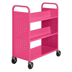 This pink book cart would be BEAUTIFUL in any classroom or school library! Sandusky Combination Shelf Mobile Booktruck
