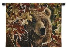 Rustic Brown Bear Lodge Grizzly Fall Autumn Leaves ART Tapestry Wall Hanging | eBay