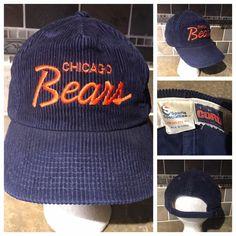 6a6677de Details about Vintage 90s Sports Specialties Chicago Bears Script Wool NFL  size 6 7/8 Hat Cap
