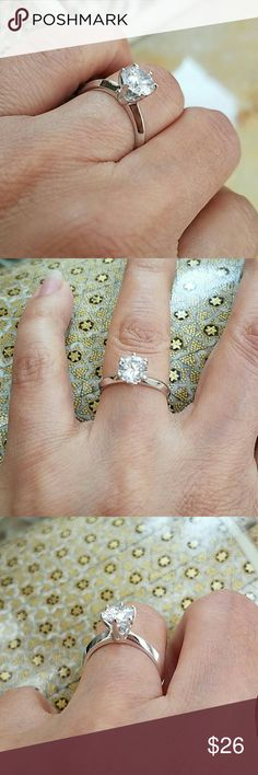 14k gold plated Round Engagement ring size 7 1ct man made diamond, Size 4 5 6 7 8 9 Jewelry Rings