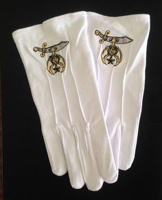 8025b39e879 Shriner scimitar logo cotton white gloves