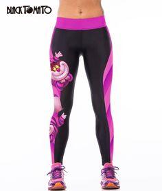 Tomate negro venta caliente 2016 impresión del gato de Cheshire mujeres legging Sexy fitness correr deporte leggings pantalones leggings mujeres la ropa