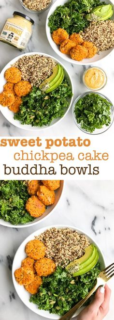 Super easy Sweet Potato Chickpea Cake Buddha Bowls. Gluten-Free cakes for an easy go-to recipe. Perfect meal prep idea and it is made with simple ingredients