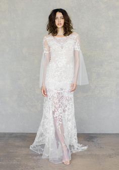 Claire Pettibone showed their latest wedding dresses at Bridal Fashion Week. See Claire Pettibone spring 2019 wedding dresses here Lace Wedding Dress With Sleeves, New Wedding Dresses, Colored Wedding Dresses, Designer Wedding Dresses, Bridal Dresses, Dresses With Sleeves, Lace Sleeves, Bell Sleeves, Claire Pettibone
