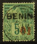 "FRENCH COLONIES -  BENIN 1892 ""01"" in red on 5c green, Yv 14, very fine used."