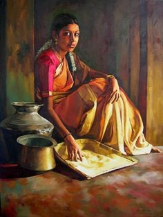 Portraying Dravidian Women by Realistic Artist Elayaraja from Chennai, India