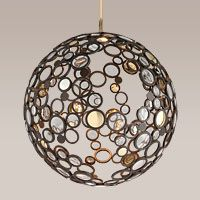 "Corbett Lighting: 188-44 LED Pendant Convex Crystal Disk Bronze with Polished Brass and Stainless Accents  Hand Crafted Iron 39.5""W 40.5""H 89.5""OAH      1-20W LED Light Engine"