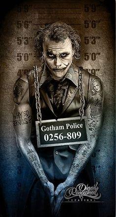 The Joker, Gotham City Police mugshot by Marcus Jones Joker Und Harley Quinn, Der Joker, Heath Ledger Joker, Joker Art, Joker Poster, Joker Images, Joker Pics, Joker Kunst, Fotos Do Joker
