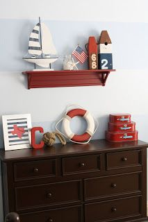 Boy room decor tips A priceless decorating tip is to put wasted wall space to make use of. This will help make your room and offers it an aesthetic quality. Boys Nautical Bedroom, Boys Bedroom Themes, Kids Bedroom, Nautical Theme, Nautical Baby, Bedroom Decor, Nautical Dresser, Bedroom Furniture, Nautical Furniture