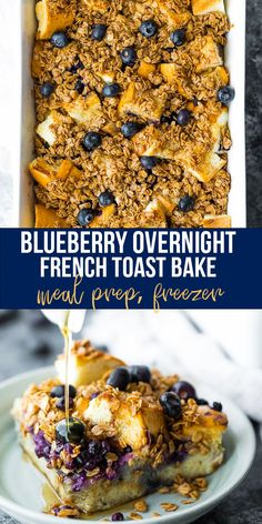 Soft and custardy on the inside with a crunchy oat topping, this blueberry overnight french toast bake makes brunch for a crowd! Prep it the night before so that the bread absorbs all the flavors; the next morning, simply pop it into the oven and bake it up. #sweetpeasandsaffron #overnight #mealprep #freezer #breakfast #holidays #frenchtoast #oven Best Breakfast Recipes, Savory Breakfast, Sweet Breakfast, Perfect Breakfast, Breakfast Time, Brunch Recipes, Brunch Ideas, Breakfast Ideas, Overnight French Toast