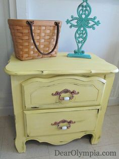 Furniture for Sale in Oahu | Carolina Sun Yellow | Painted Furniture | CeCe Caldwell's Chalk and Mineral Paint | antique gold | clear wax | upcycle | distressed | rustic | refinished furniture