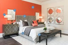 Scott McGillivray created a rejuvenating guest room with an accent wall in 'Singapore Coral' As seen on HGTV Canada's 'Moving the McGillivrays'. Feng Shui, Scott Mcgillivray, White Oak Floors, Guest Bed, Guest Room, Home Decor Bedroom, Bedroom Ideas, Master Bedroom, Fireplace Surrounds