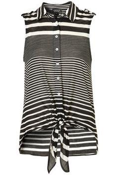 Stripe Knot Front Shirt - StyleSays