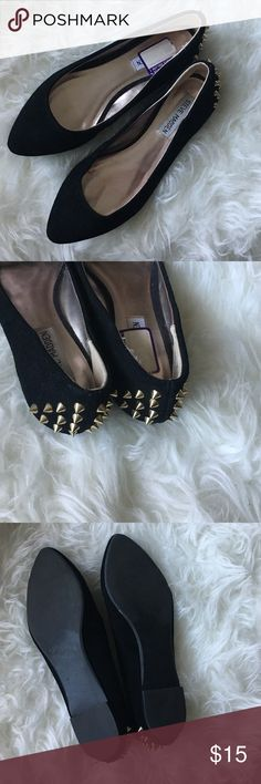 Steve Madden Spiked Flats Black suede flats with gold spikes on the back. Some wear in the front otherwise great condition! 7.5 - leather upper. Steve Madden Shoes Flats & Loafers