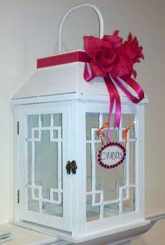 My Card box/ Bought the lantern at Marshalls :  wedding card box cards diy ivory lantern orange pink reception red teal white 050912211716