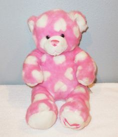 """PINK 16"""" Build A Bear Teddy Plush White Hearts MAGNETIC PAWS Stuffed Animal"""