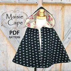Cape pattern, Girls PDF sewing pattern, Little Red Riding Hood Childrens Sewing Patterns, Pdf Sewing Patterns, Clothing Patterns, Sewing Ideas, Sewing Projects, Sewing Kids Clothes, Sewing For Kids, Baby Sewing, Little Girl Dresses