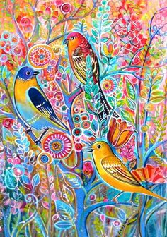Beautifulbirds on the tree - watercolour by Tatiana Oles