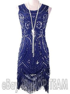 Vintage Clothing 1920s Flapper Dress Great Gatsby Charleston Beads Sequin Dress