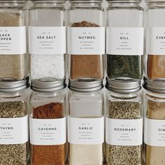 Who would have thought, 26 & getting kicks over DIYing spice jars 🤪 Spice Jar Labels, Glass Spice Jars, Spice Bottles, Labels For Jars, Pantry Organisation, Spice Organization, Tea Station, Spice Storage, Diy Storage