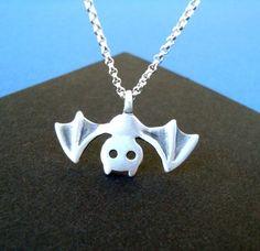 Bat Necklace Jewelry Vampire Goth sterling silver by zoozjewelry, $26.00