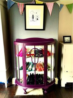 Old china cabinet turned into a shoe storage cabinet Chalk Paint Furniture, Funky Furniture, Refurbished Furniture, Upcycled Furniture, Furniture Makeover, Furniture Ideas, Quirky Shoe Storage, Shoe Storage Cabinet, Shoe Cupboard