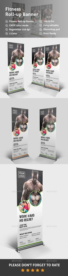 Buy Fitness Roll-up Banner by Pixelpick on GraphicRiver. Features: Easy Customizable and Editable Fitness Roll-up Banners in with Bleed Setting inch) CMYK Color. Letterhead Template, Brochure Template, Signage Design, Banner Design, Banner Template, Flyer Template, Rollup Banner, Banner Stands, Cool Business Cards