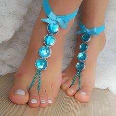Smoked blue rhinestone anklet FREE SHIP Beach by BarefootShop