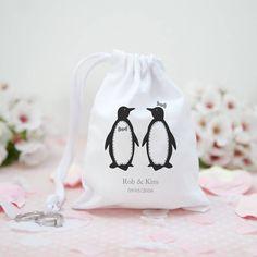 Personalised Penguin Pair Wedding Favour Bag @notonthehighst