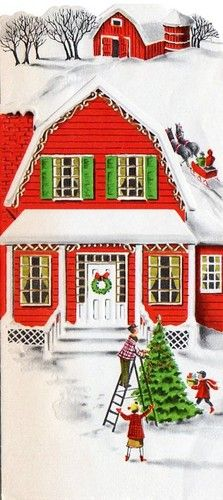 Vintage Christmas Greeting Card... Farm House Snow scene at Christmas.