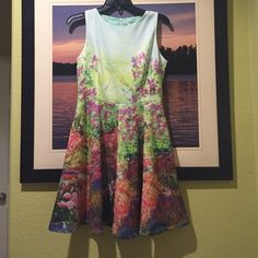 "Amelia Floral 3D Print Fit & Flare Mini Dress Beautiful 3D print on green mint hue, one of a kind. Sleeveless, crew neck, fit & flare skirt, fully lined, zip back, fit to true size. 34"" length, 30"" waist. polyester/spandex. Dresses Mini"