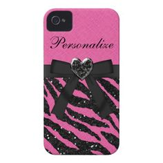 Zebra Print iPhone Cases for Girls | Pink & Black Glitter Zebra Print iPhone 4 Case from Zazzle.com