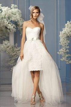 Love this short wedding dress with detachable tulle trainWtoo Brides Skirt Riley