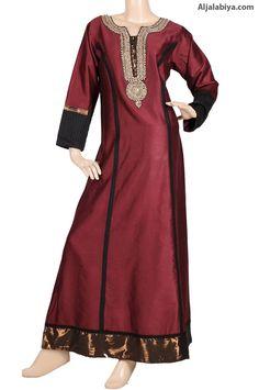 "aljalabiya.com: ""Harmony Red Kaftan"" Casual cotton kaftan with embroidery (N-14071-6)        $84.00"