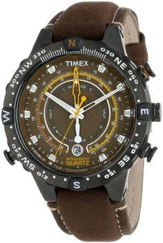 31a8fbc8d641 Timex Men s T2P141DH Intelligent Quartz Adventure Series Tide Temp Compass  Brown Nubuck Leather Strap