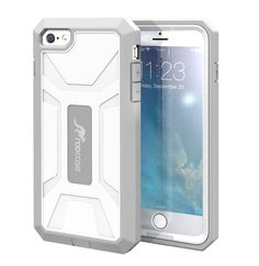 iPhone 6 Plus Case, by roocase KAPSUL Series PC/TPU Hybrid Tough Armor Military Case with Front Cover and Built-in Screen Protector for Apple iPhone 6 Plus 5.5, White