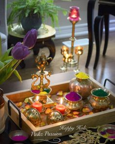 May this festival bring you all the bright hues of life - 'Happy Holi'. Diwali Decorations At Home, Festival Decorations, Table Decorations, Housewarming Decorations, Flower Decorations, Ganesha, Ganesh Idol, Ethnic Home Decor, Indian Home Decor
