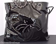 AUTHENTIC CHANEL BLACK PATENT CC TOTE TIMELESS CLASSIC SHOULDER BAG NWT $2250