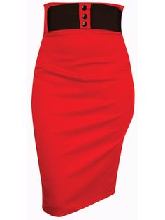 "Red Switchblade Stiletto Wide Belt Pencil Skirt - Available from Anomalie Clothing! - This classy pencil skirt from Switchblade Stiletto features stretch cotton twill fabric; zipper at back; detachable 3"" Elastic belt. This skirt stretches to fit and sucks your tummy in for you!"