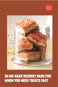 No oven? No problem. Try our no-bake bar recipes. Peanut Butter Pretzel, Peanut Butter Chocolate Bars, Peanut Butter Oatmeal, Popcorn Recipes, Bar Recipes, Dessert Recipes, Ice Cream Desserts, No Bake Desserts, Rice Crispy Bars