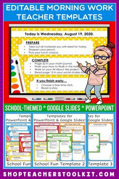 These back to school-themed Editable PowerPoint and Google Slides Teacher Templates include space to type the day and date, reminders of what to do when entering the classroom, as well as 'must do' and 'may do' assignments. Remind your students of their morning assignments during arrival time by displaying them on your whiteboard or SMARTBoard. #teachertemplates #morningarrivalinstructions #editable #powerpoint #googleslides #backtoschool