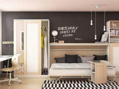 Lit modulable une place pour petit espace, IKEA. Chaque produit de la collection Askenäset a été conçu pour avoir deux fonctions afin de rendre l'espace de vie plus intelligent. C'est le cas de cette armoire murale qui inclut un lit une place, caché à l'intérieur. Il peut facilement être déplié pour dormir et dispose d'une petite étagère en guise de table de nuit.