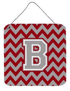 Letter B Chevron Crimson and Grey Wall or Door Hanging Prints CJ1043-BDS66