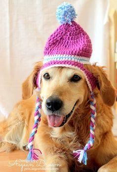 Dog Hat Ear Flap Dog Hat Dog Beanie Puffball Hat by AegeanDrawn