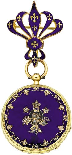 Timepieces:Pocket (pre 1900) , Patek Lady's Early Enamel, Gold Watch, circa 1870. ... Image #1