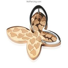 "316L Stainless Steel PVD Rose Gold ""3-D"" Heart Butterfly Pendant #mspiercing #piercings"