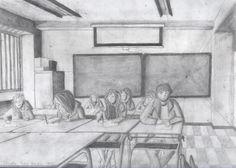 Dibujos a lápiz Grafito de mis alumnos de 1º de Bachillerato curso 2013/14. Perspectiva Cónica Frontal y Oblicua.