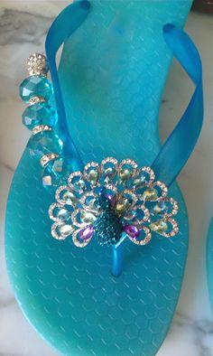 53 Super ideas for wedding shoes sandals blue flip flops Peacock Shoes, Peacock Colors, Peacock Blue, Designer Flip Flops, Shoe Boots, Shoes Sandals, Peafowl, Flip Flop Sandals, Shades Of Blue